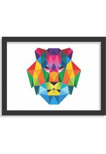 Quadro Decorativo Leão Abstrato Colorido Preto - Grande