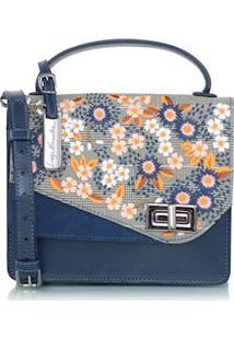 Bolsa Pequena Bordados Em Couro Azul