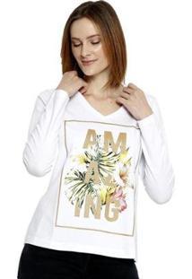 Camiseta Energia Fashion Manga Longa Plus Size Feminina - Feminino-Branco