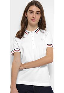 Camisa Polo Tommy Hilfiger Listras Feminina - Feminino-Branco