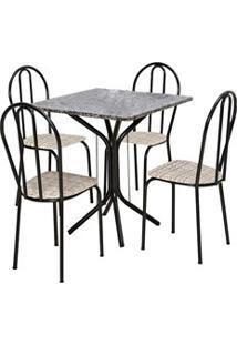 Jogo De Mesa E 04 Cadeiras Thais Com Tampo Granito Craquelada/Assento