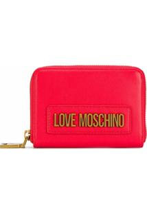 Love Moschino Carteira Com Zíper E Logo - Vermelho