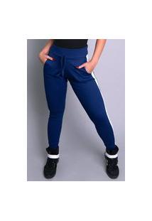 Calça Ribana Jogger Mvb Modas Moletom Listra Cintura Alta Azul