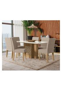 Mesa Com 6 Cadeiras Para Sala De Jantar Betula Kappesberg A020 Freijó/Off
