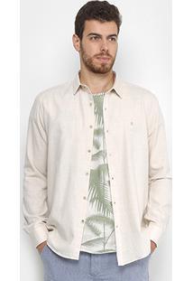 Camisa Foxton Manga Longa Praia Masculina - Masculino-Bege Claro