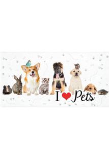 """Toalha De Banho Aveludada """"I Love Pets""""- Branca & Marromlepper"""