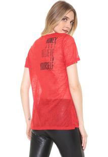 Camiseta Carmim Estampada Vermelha