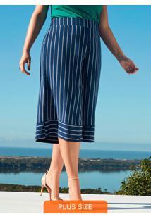 Calça Pantacourt Tecido Rayon Bali Azul