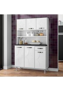 Armário Para Cozinha 6 Portas 1 Gaveta Rubi Smart Telasul Branco