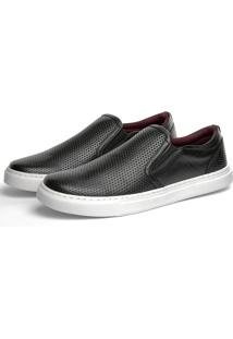Sapatênis Slip On Mr L.White Perfuro 4000 Preto