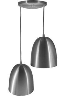 Pendente Em Alumínio Para 2 Lâmpadas Escovado