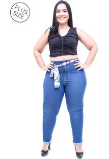 6a0103d22 ... Calça Jeans Cambos Plus Size Skinny Dhaiani Azul
