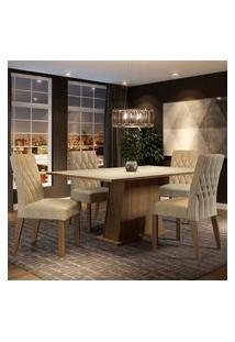 Conjunto Sala De Jantar Madesa Ingrid Mesa Tampo De Madeira Com 4 Cadeiras - Rustic/Crema/Imperial Marrom