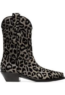 Dolce & Gabbana Bota Cowboy 'Texan 40' Com Estampa De Leopardo - Metálico