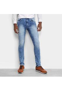 Calça Jeans Skinny Opera Rock Estonada Masculina - Masculino-Azul Claro