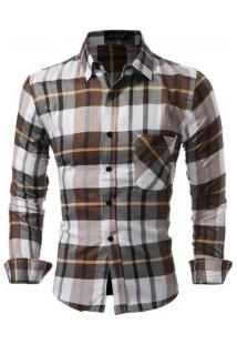 Camisa Masculina Slim Xadrez Manga Longa - Marrom Claro