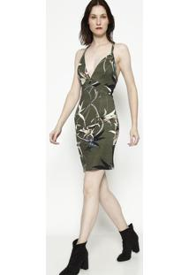 Vestido Com Recortes & Tag- Verde Musgo & Off White-Forum