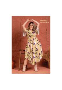 Vestido Liberty Costela De Adáo Plus Size Domenica Solazzo Vestidos Longos Amarelo