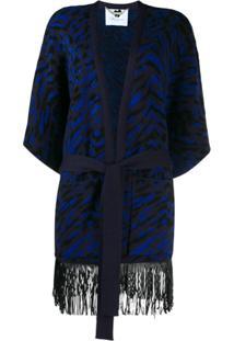 Blumarine Fringed Belted Cardigan - Azul