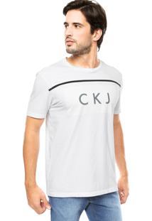Camiseta Calvin Klein Estampa Sobreposta Branca