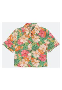 Camisa Cropped Em Viscose Com Estampa Floral E Manga Curta | Blue Steel | Multicores | P