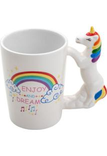 Caneca Rainbocorn Branca 350 Ml