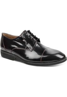 Sapato Social Couro Sandro & Co.Drerby Verniz Masculino - Masculino-Preto