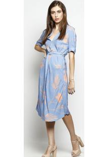 316aa87cf ... Vestido Floral Com Linho- Azul & Laranja- Nemnem