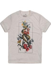 Camiseta Khelf Cobra E Flores Mescla Bege