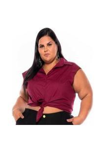 Camisa Regata Tricoline Stretch Feminina Vinho Plus Size Xp Ao G5 3222 Multicolorido