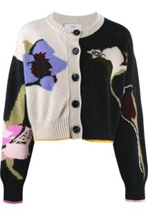 Pringle Of Scotland Cropped Floral Pattern Cardigan - Preto