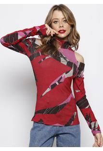 Blusa Canelada Com Ombros Vazados- Vermelha & Rosa- Forum