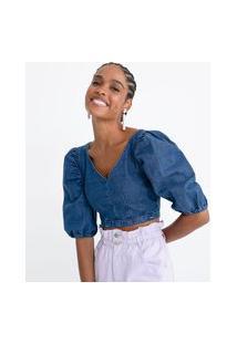 Blusa Cropped Jeans Com Mangas Bufantes E Decote V
