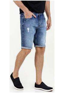 Bermuda Masculina Jeans Slim Barra Dobrada Mr