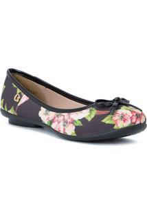 Sapatilha Floral Com Laã§O- Preta & Verdecarmen Steffens