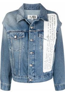 Mm6 Maison Margiela Jaqueta Jeans Com Estampa - Azul