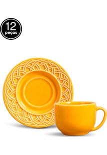 Conjunto 12Pçs Xícaras De Chá Porto Brasil Cestino Amarelo