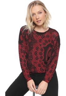 Suéter Desigual Tricot Trendy Vinho/Preto