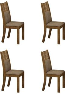 Conjunto Com 4 Cadeiras Havaí Ipê E Animale Capuccino