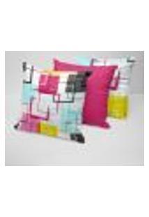 Kit 3 Capas Para Almofadas Decorativas Arabescos Coloridos 45X45Cm