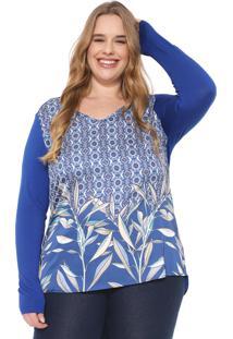 Blusa Cativa Plus Estampada Azul