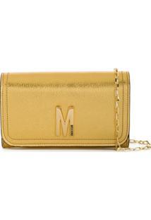Moschino Porta-Moedas Com Alças Removível E Logo M - Dourado