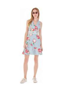 Vestido Curto Decote V Detalhe Retilinea Azul P