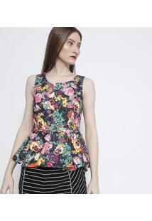 f5fe052955 ... Blusa Peplum Floral- Preta   Verde- Susan Zhengsusan Zheng