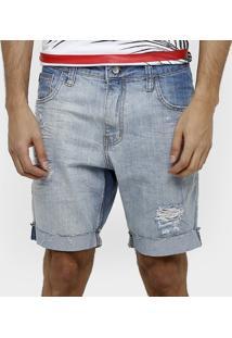 Bermuda Jeans Colcci Lavada Rasgada Masculina - Masculino