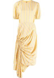 Pushbutton Vestido Assimétrico Listrado - Amarelo