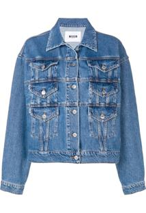 Msgm Oversized Fit Jacket - Azul