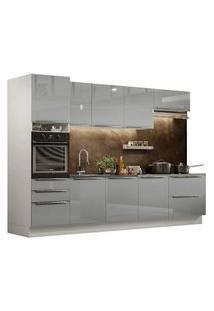 Cozinha Completa Madesa Lux 320004 Com Armário E Balcão Branco/Cinza Cor:Branco/Cinza