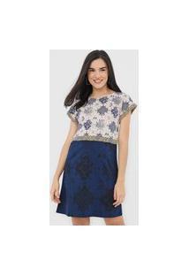 Vestido Desigual Curto Montgomery Bege/Azul-Marinho