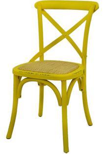 Cadeira Katrina Madeira Assento Em Rattan Cor Amarela - 55467 - Sun House